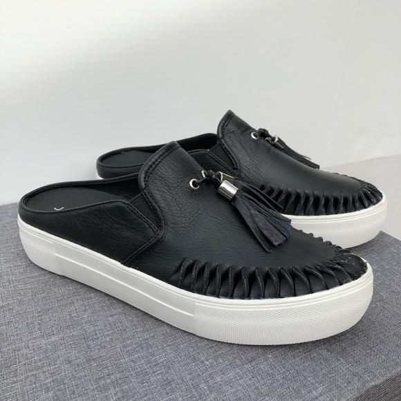 J Slides Black Platform Slide Tassel